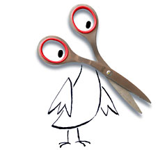 Bird with scissor loops for eyes and scissor clips for beak