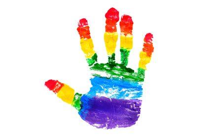 lgbtq rainbow hand logo