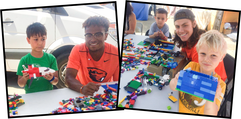 Lego building with OSU athletes
