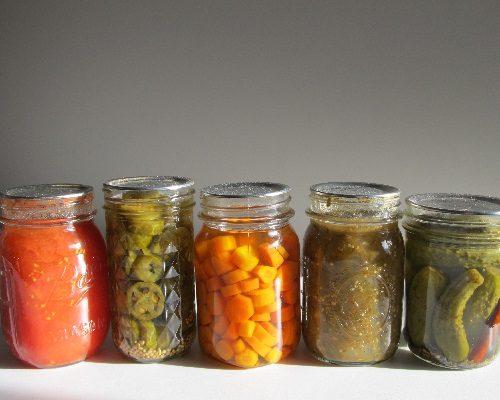 pickle jars on a shelf