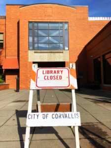 Photo of library with Closed sign