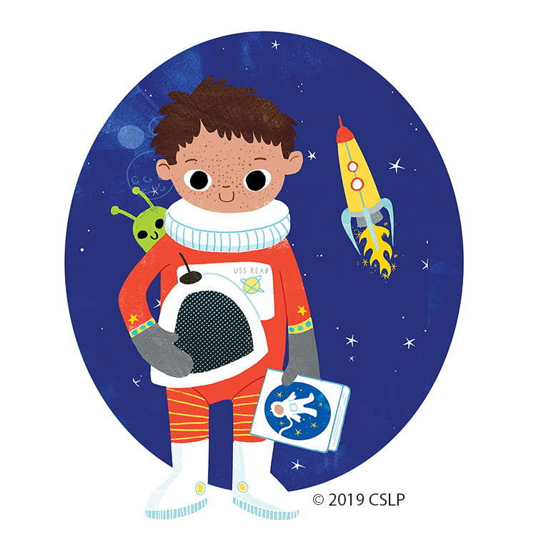 child in astronaut suit with space background
