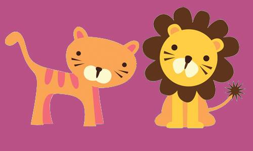 lion on pink background