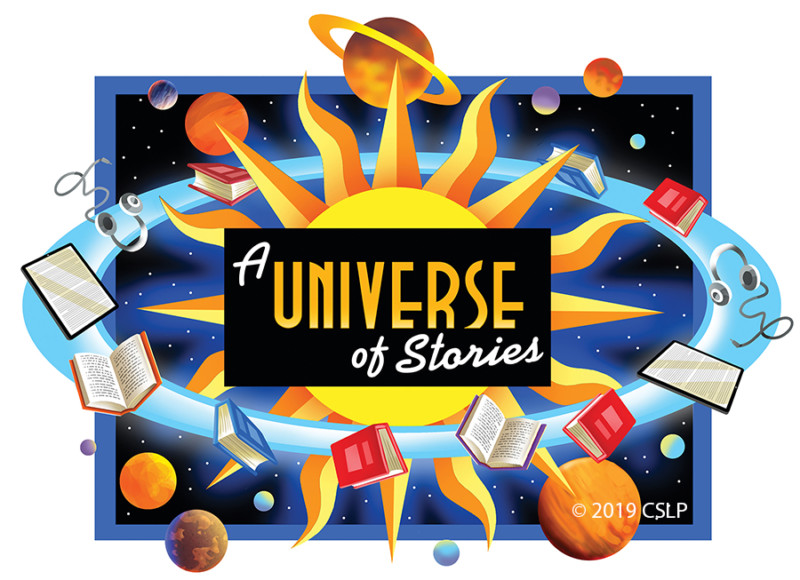 universe of stories books orbiting in space