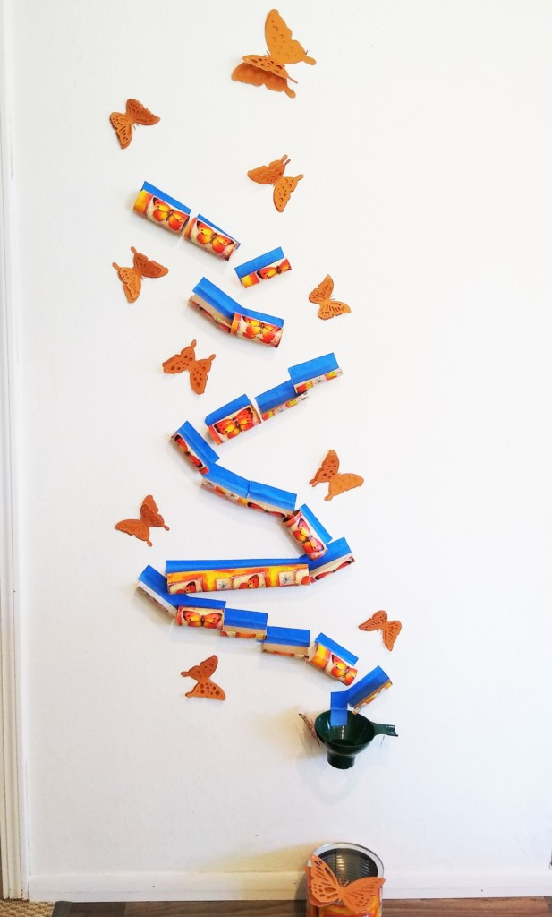 Example of decorated cardboard marble run