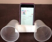 Photo of plastic cup smartphone amplifier