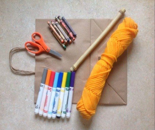 yarn, markers, scissors, craft supplies