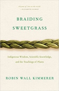 Braiding sweetgrass book cover - a braid of sweetgrass across the page horizontally on a light background