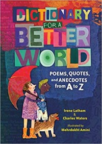Dictionary for a better world book cover - Cartoon drawing of two people (one white holding an umbrella, one black with a hat) with a dog looking upwards.