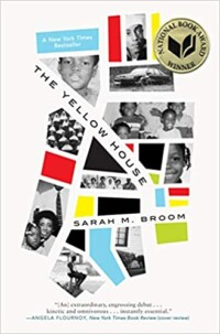 The Yellow house book cover - abstract collage of B&W pictures from the author's childhood intermixed with block of color