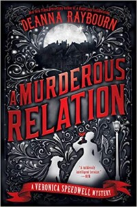 A murderous relation book cover - decorative cover with the white shapes of a woman and dog at the bottom next to a gas lamp and a drawing of a dark mansion at the top.