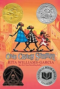 One crazy summer book cover - 3 young Black girls walking together across a street one after the other.