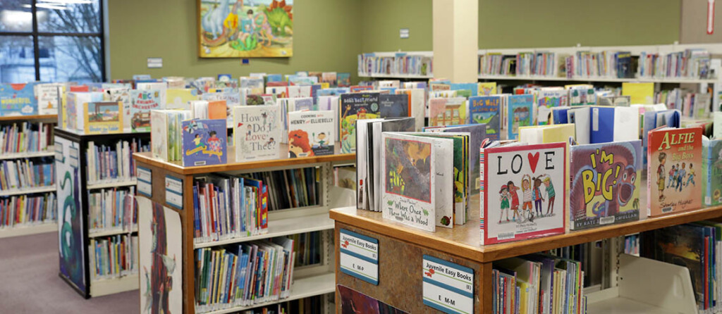 Photo of the picture book section of the library